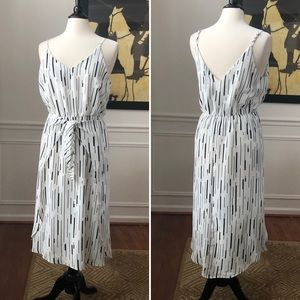 She & Sky Midi Dress Tie Front Adj Strap L NWT